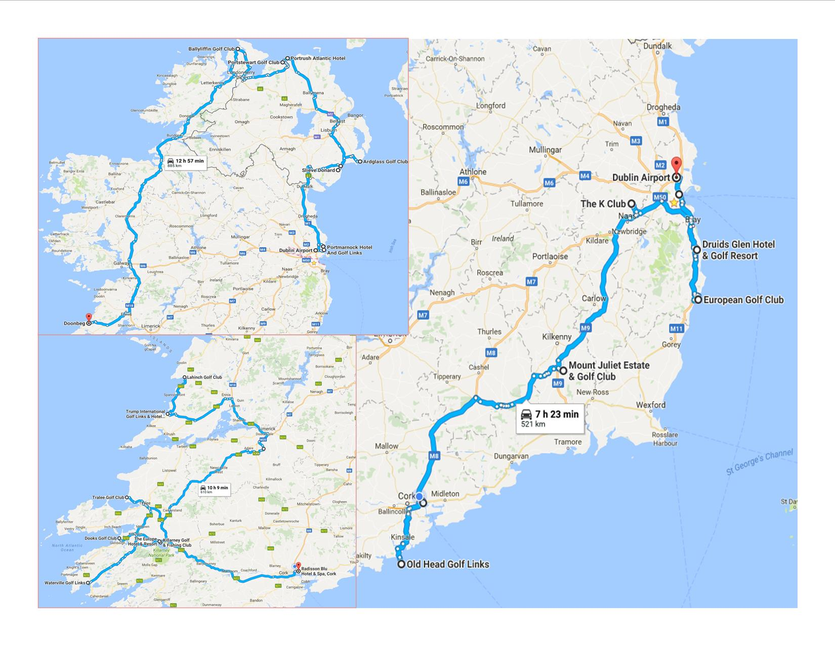 Golf Map Of Ireland.Map Of Ireland Marathon Golf Concierge Golf Ireland