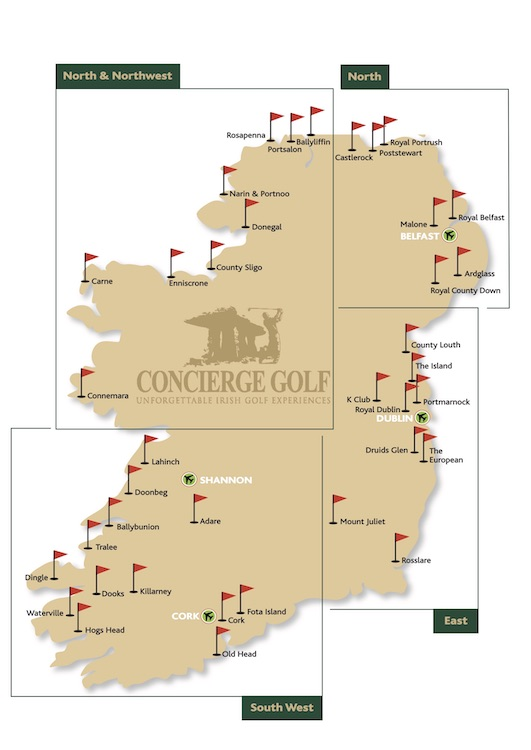 Destination Golf Links Ireland, Where to play golf in Ireland, Irish Golf vacations, Irish Golf Map